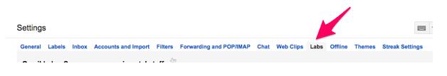 Gmail Inbox Google Labs Settings Tab Menu