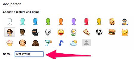 google chrome add new profile name