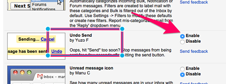 Gmail email undue send settings enable