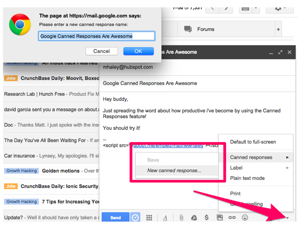 Google Canned Responses Inbox Email Template