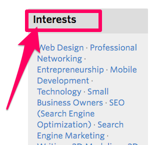 Meetup.com individual user profile interests